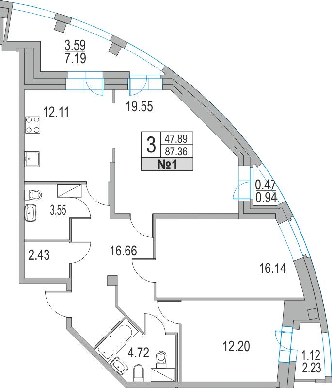 Планировка Трёхкомнатная квартира площадью 94.12 кв.м в ЖК «Приморский квартал»