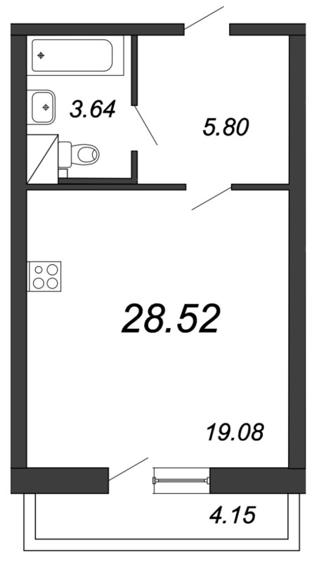 Планировка Студия площадью 28.52 кв.м в ЖК «Приморский квартал»
