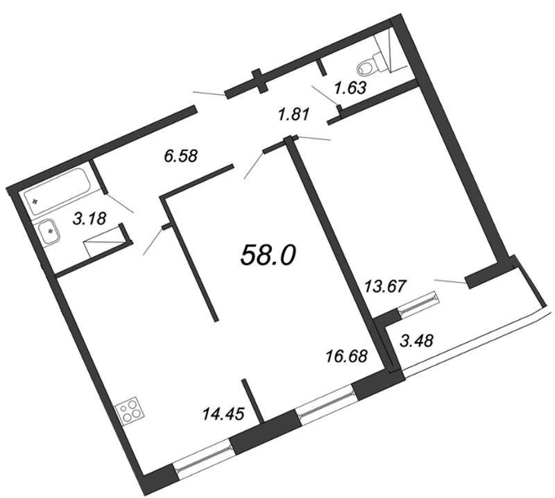 Планировка Двухкомнатная квартира площадью 58 кв.м в ЖК «Приморский квартал»