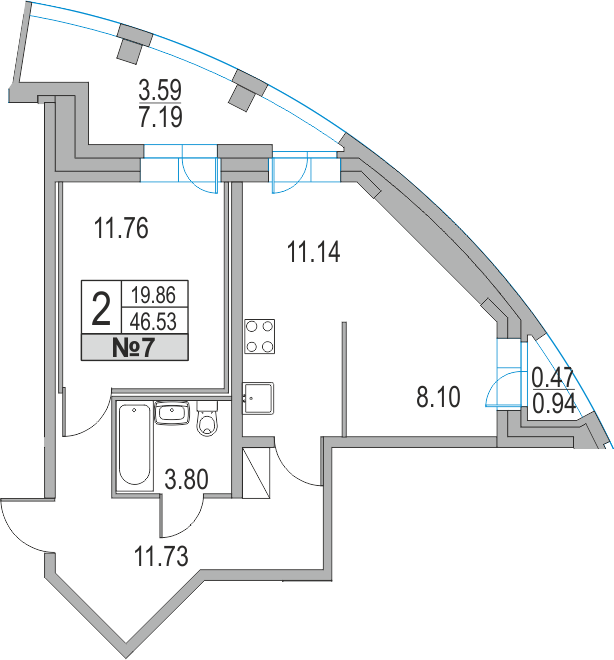 Планировка Двухкомнатная квартира площадью 54.66 кв.м в ЖК «Приморский квартал»