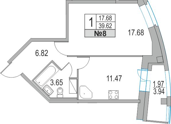 Планировка Однокомнатная квартира площадью 43.92 кв.м в ЖК «Приморский квартал»