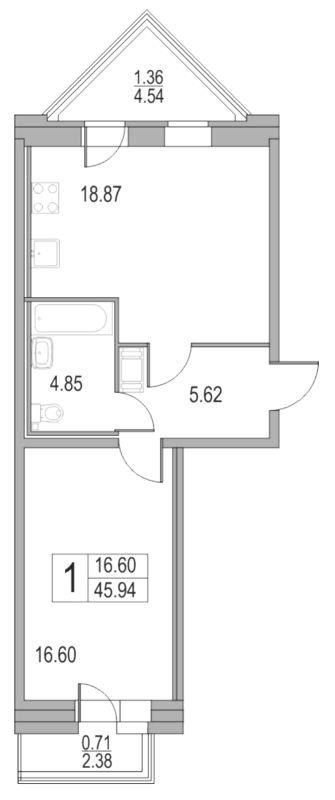 Планировка Двухкомнатная квартира (Евро) площадью 45.94 кв.м в ЖК «Приморский квартал»