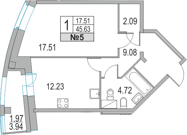 Планировка Однокомнатная квартира площадью 49.57 кв.м в ЖК «Приморский квартал»