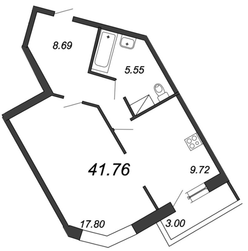 Планировка Однокомнатная квартира площадью 41.76 кв.м в ЖК «Приморский квартал»