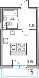 Планировка Студия площадью 32.67 кв.м в ЖК «Приморский квартал»