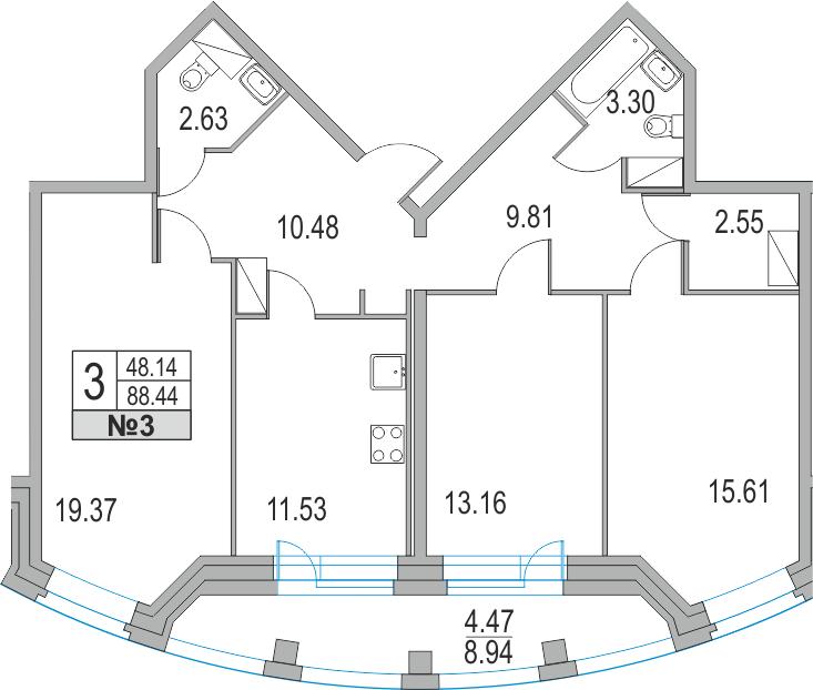 Планировка Трёхкомнатная квартира площадью 97.38 кв.м в ЖК «Приморский квартал»