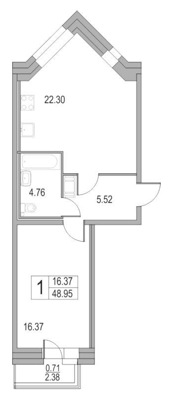 Планировка Двухкомнатная квартира (Евро) площадью 48.95 кв.м в ЖК «Приморский квартал»