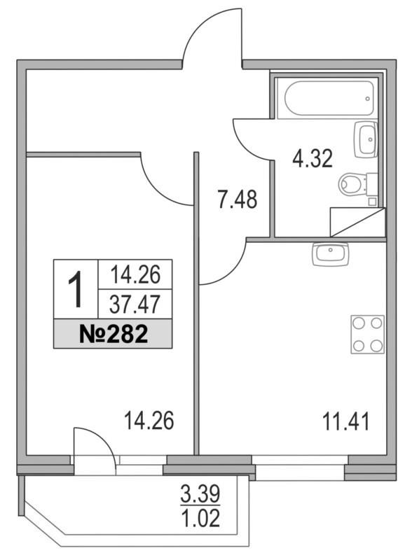 Планировка Однокомнатная квартира площадью 37.47 кв.м в ЖК «Приморский квартал»