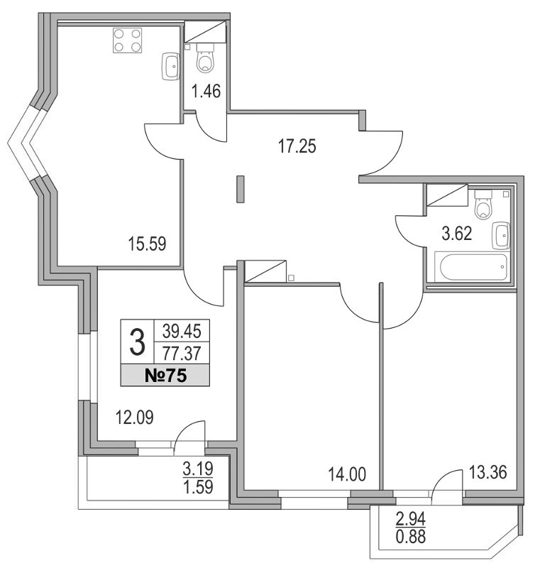 Планировка Четырёхкомнатная квартира (Евро) площадью 77.37 кв.м в ЖК «Приморский квартал»