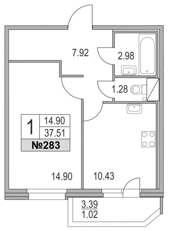 Планировка Однокомнатная квартира площадью 37.51 кв.м в ЖК «Приморский квартал»