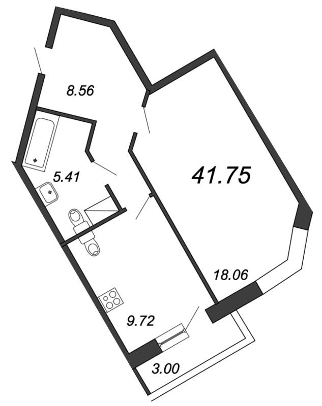 Планировка Однокомнатная квартира площадью 41.75 кв.м в ЖК «Приморский квартал»