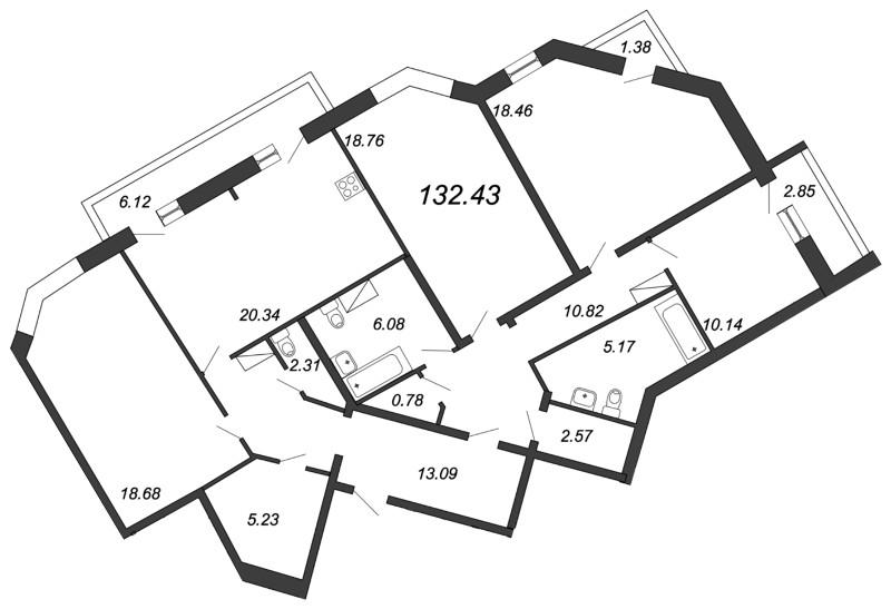 Планировка Четырёхкомнатная квартира площадью 132.43 кв.м в ЖК «Приморский квартал»