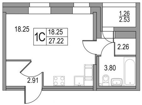 Планировка Студия площадью 27.22 кв.м в ЖК «Приморский квартал»
