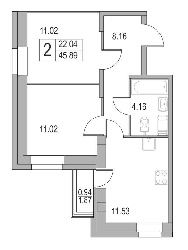 Планировка Двухкомнатная квартира площадью 45.89 кв.м в ЖК «Приморский квартал»