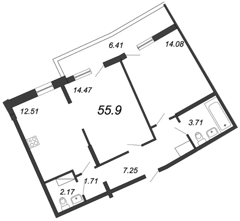 Планировка Двухкомнатная квартира площадью 55.9 кв.м в ЖК «Приморский квартал»